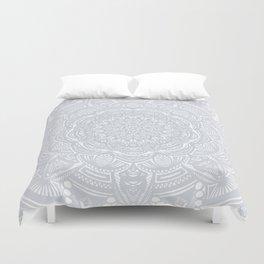 Light Gray Ethnic Eclectic Detailed Mandala Minimal Minimalistic Duvet Cover
