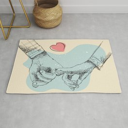 Two lovers are holding hands each other, Romantic line art illustration, valentines day gifts Rug