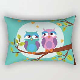 Sleepy owls in love Rectangular Pillow