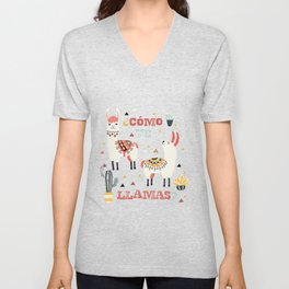 Como te Llamas. Funny Spanish Word Humor. Potted Cacti and two Llamas Unisex V-Neck