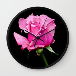 Romantic Pink Rosebud Wall Clock