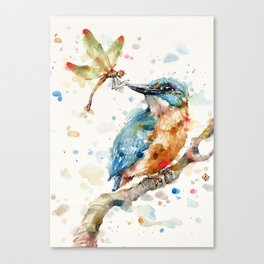 Interesting Relationships (Kingfisher & Dragonfly) Canvas Print