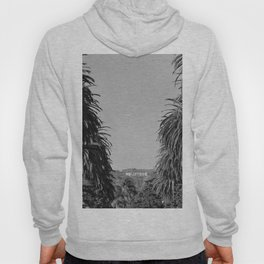 Hollywood Sign, Hancock Park Street view line by palm trees black and white photograph Hoody