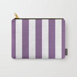 Pomp and Power violet - solid color - white vertical lines pattern Carry-All Pouch
