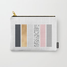 Geo Lines - Slate Gold Marble and Pink Carry-All Pouch