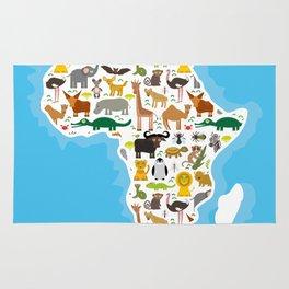 Animal Africa: parrot Hyena Rhinoceros Zebra Hippopotamus Crocodile Turtle Elephant Mamba snake Rug