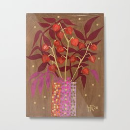 Chinese Lanterns, Physalis, Paper Collage Papercut Autumn Flowers Abstract Floral Metal Print