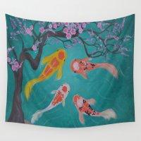 koi fish Wall Tapestries featuring koi fish by Marie Ariza