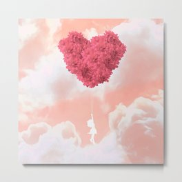 Flower balloon takes her to the wild pink yonder Metal Print