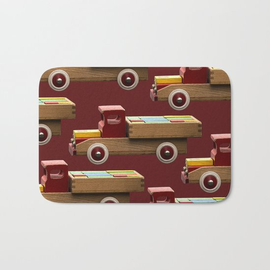Vintage wooden toy truck Bath Mat