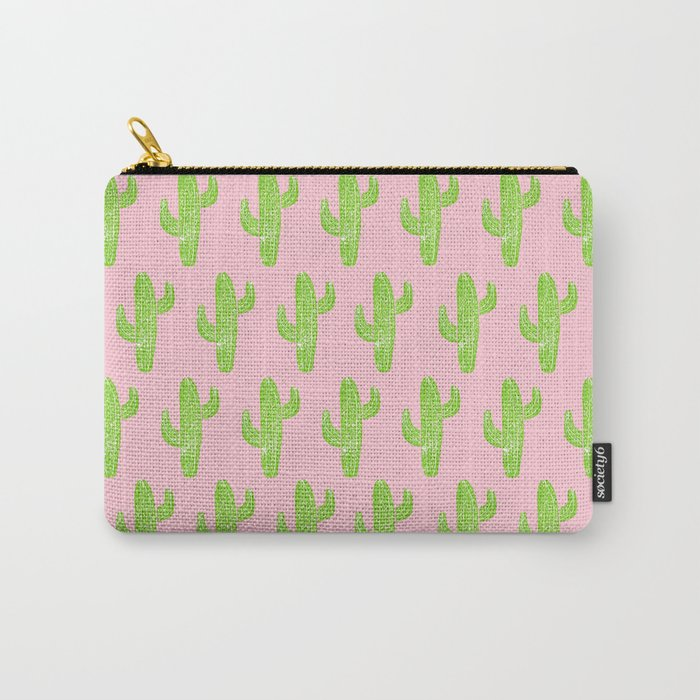 Linocut Cacti Minty Pinky Carry-All Pouch