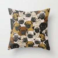 pugs Throw Pillows featuring Social Pugz by Huebucket