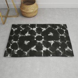 Black shibori kaleidoscope Rug
