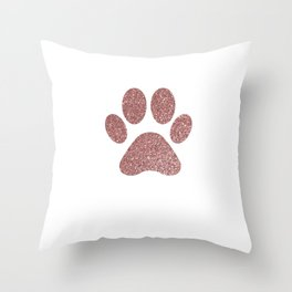 Paws - Gold Confetti On Strips With Rose Gold Paw Throw Pillow