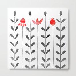 Wildflowers in a field * black palette Metal Print