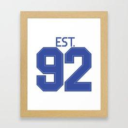 Est. 92 blue Framed Art Print