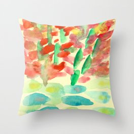 Red Trees and Lotus Throw Pillow