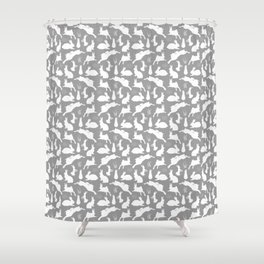 Rabbit Pattern | Rabbit Silhouettes | Bunny Rabbits | Bunnies | Hares | Grey and White | Shower Curtain