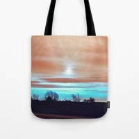 night sky Tote Bags featuring Night sky by J's Corner