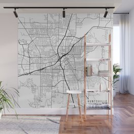 Huntsville Map, USA - Black and White Wall Mural