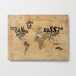 world map typography vintage Metal Print