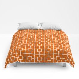 Mango Orange Square Chain Pattern Comforters