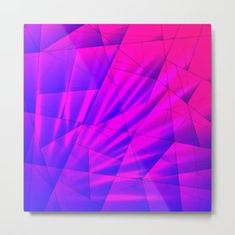Bright fragments of crystals on irregularly shaped blue and violet triangles. Metal Print