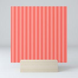 Coral Pink Thin Vertical Stripes Mini Art Print