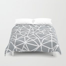 Abstract Outline Thick White on Grey Duvet Cover
