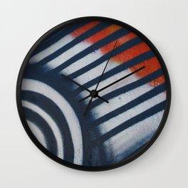 Red White & Blue Graffiti Wall Clock