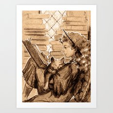 Hermione and Crookshanks Art Print