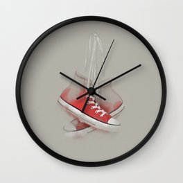 red sneakers Wall Clock