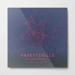 Fayetteville, United States - Neon Metal Print