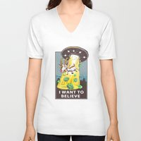 i want to believe V-neck T-shirts featuring i want to believe by Tatyana Soynikova
