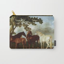 Classical Masterpiece Circa 1762 Mares and Foals in a River Landscape by George Stubbs Carry-All Pouch
