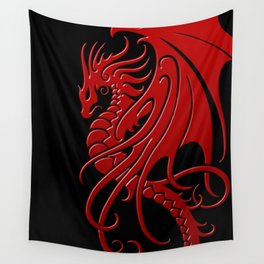 Flying Red and Black Tribal Dragon Wall Tapestry