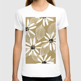 Large White Forest Flowers and Leaves on Beige Sand #decor #society6 #buyart T-shirt