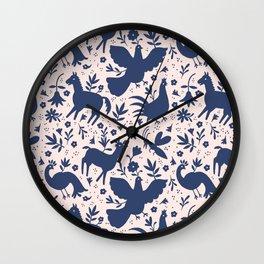 Otomi ink on blush Wall Clock