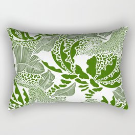 Surreal Tropical Jungle with Big Cats and Butterflies / Green Rectangular Pillow