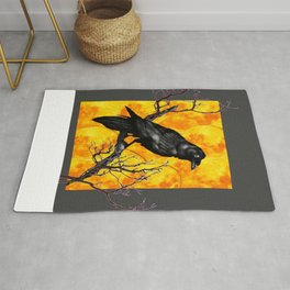 Grey & Gold Pattern  Crow Wildlife Art Rug