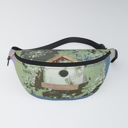 Birdhouse in barnwood, blue sage green taupe Fanny Pack
