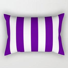 Indigo violet - solid color - white vertical lines pattern Rectangular Pillow
