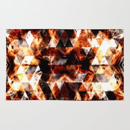 Electrifying orange sparkly triangle fire flames Rug
