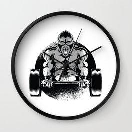 gym gorilla dumbbell Wall Clock