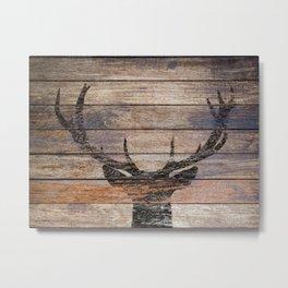Rustic Black Deer Silhouette A311 Metal Print