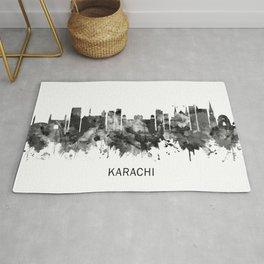 Karachi Pakistan Skyline BW Rug