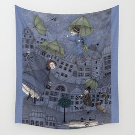 Monsieur Millet's Umbrellas Wall Tapestry