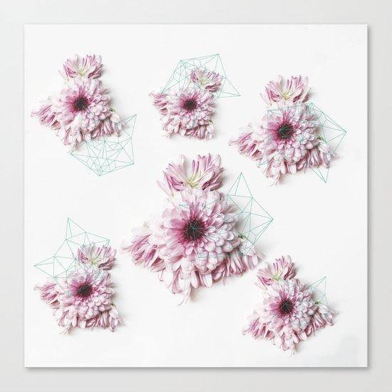 Geometry pastel flowers Canvas Print