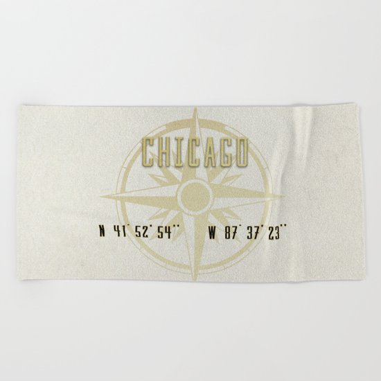 Chicago - Vintage Map and Location Beach Towel