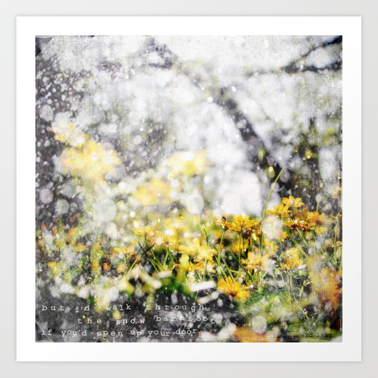 Through the Snow Barefoot Art Print